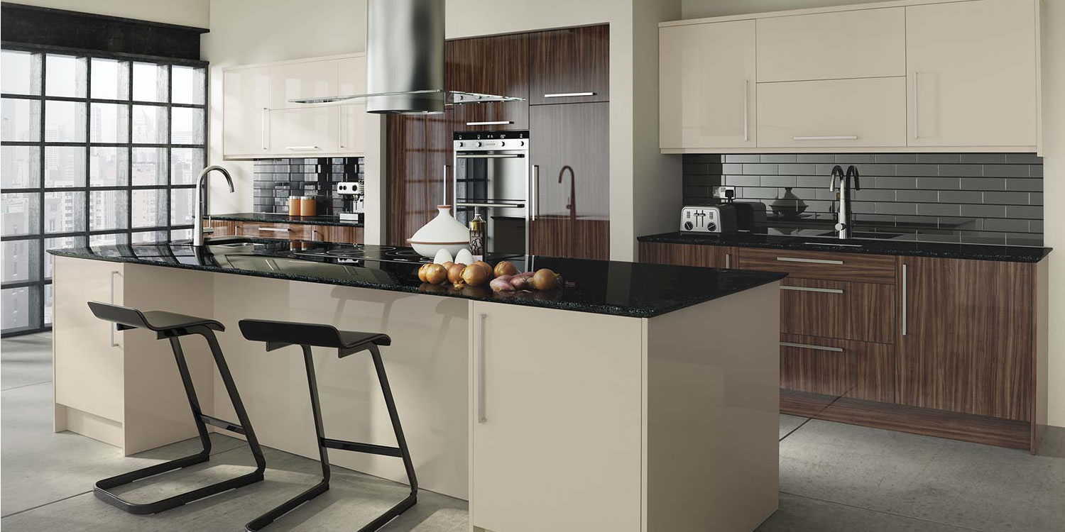 Glacier Noche Sand Beige Gloss Kitchens Wholesale Designer Kitchens