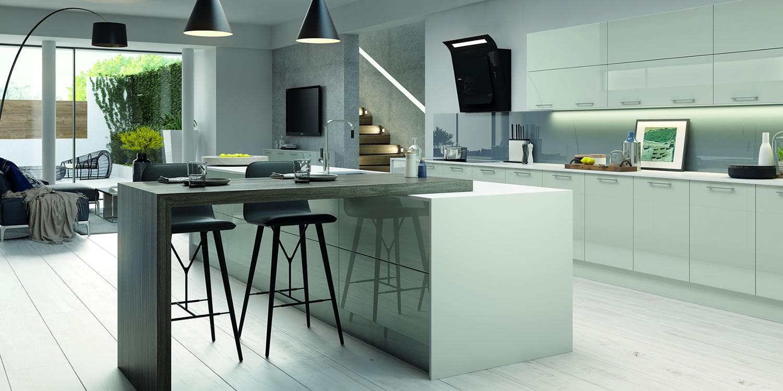 Vivo Gloss Light Grey Kitchens
