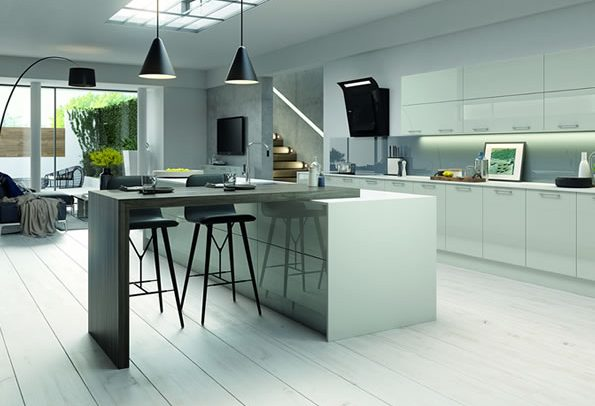 Vivo Gloss Light Grey Kitchens